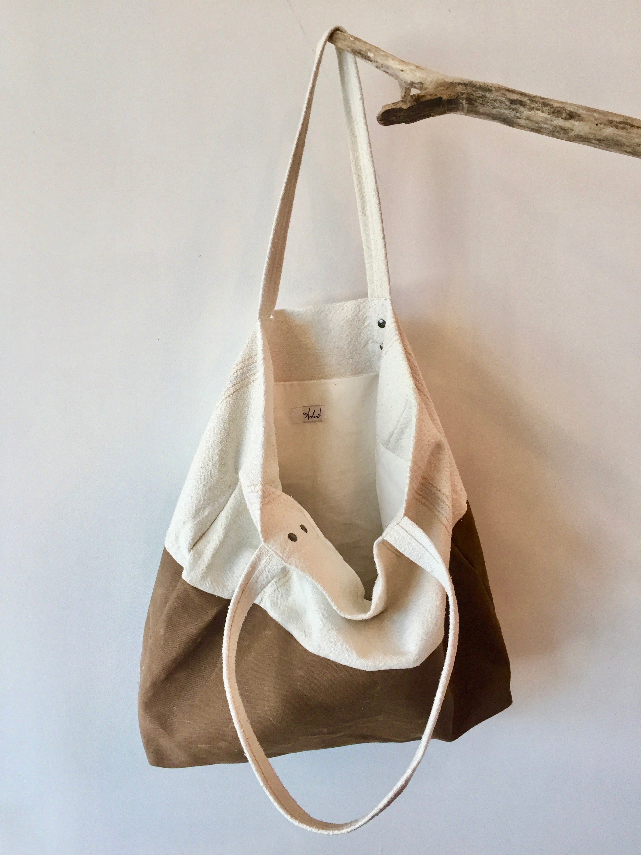Linen/ Waxed Canvas Tote Bag