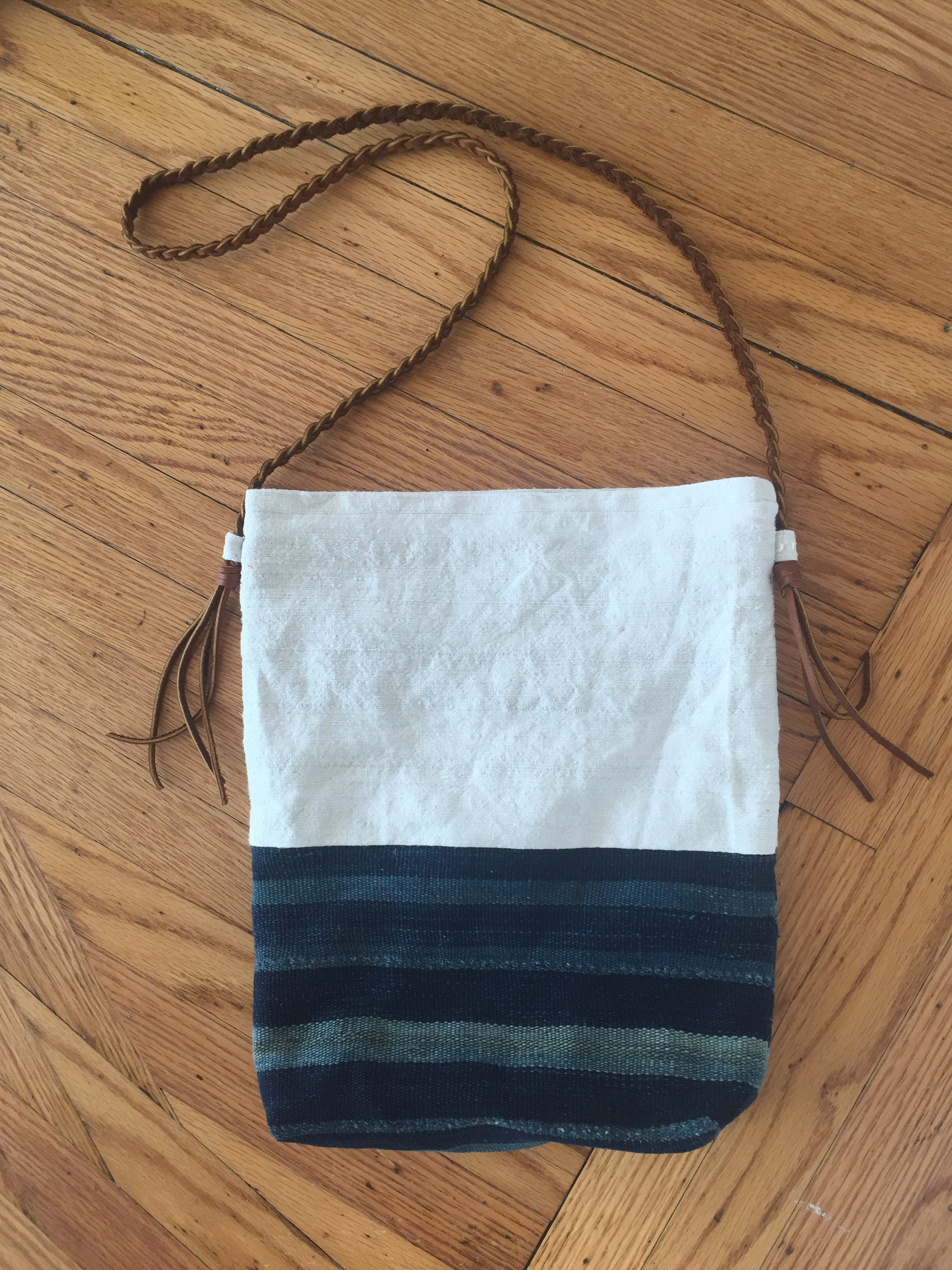 Mud cloth tote with braided strap