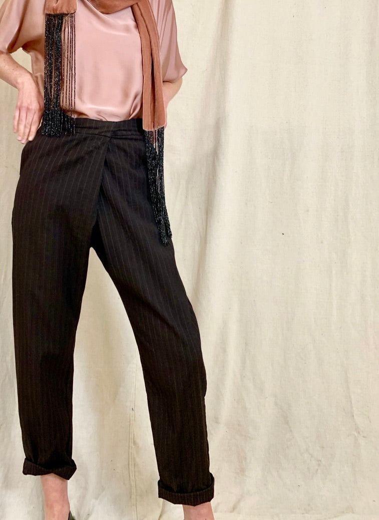Chiara Fold Over Pants - Brown PinStripe Wool