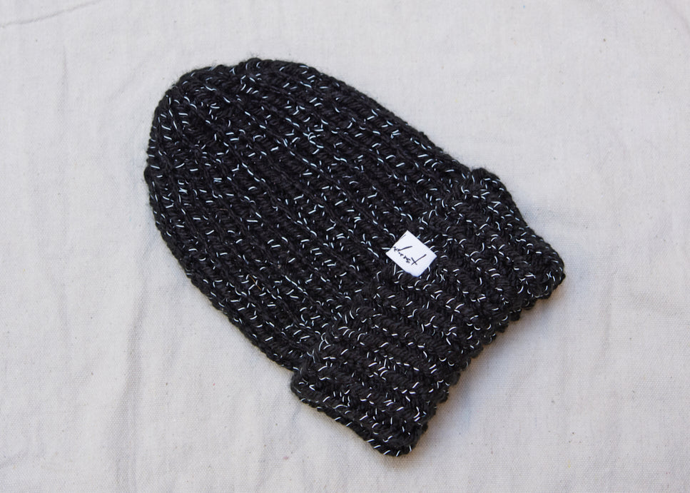 Anderst Hand Knit Reflective Wool Hat in Black