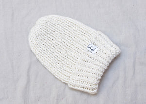 Anderst Hand Knit Reflective Hat in Ivory
