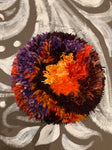 Latch Hook Cushion orange, purple, black