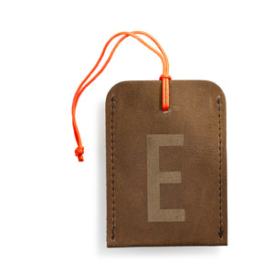 luggage tag DIN brown E