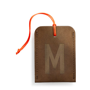 luggage tag DIN brown M