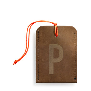 luggage tag DIN brown P