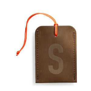 luggage tag DIN brown S