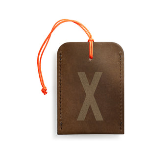 luggage tag DIN brown X