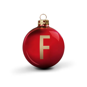 Bauble DIN Glossy Red Alphabet F