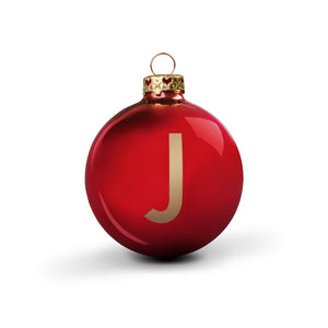 Bauble DIN Glossy Red Alphabet J