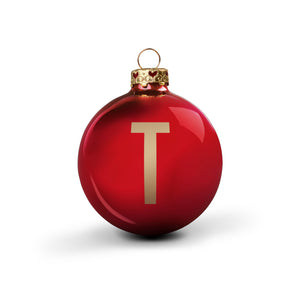 Bauble DIN Glossy Red Alphabet T
