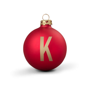 Bauble DIN Matt Red Alphabet K