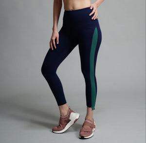 On the Side Tights - Navy/Green