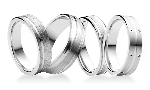 Bianco Patterned Platinum Wedding Rings
