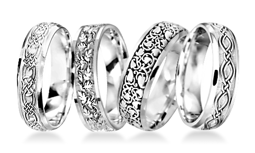 Celtic Patterned Platinum Wedding Rings
