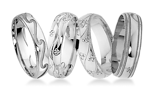 Classic Patterned Platinum Wedding Rings