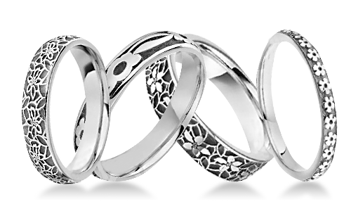 Floral Patterned Platinum Wedding Rings