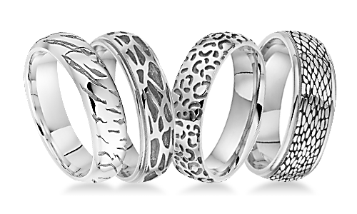 Safari Patterned Platinum Wedding Rings