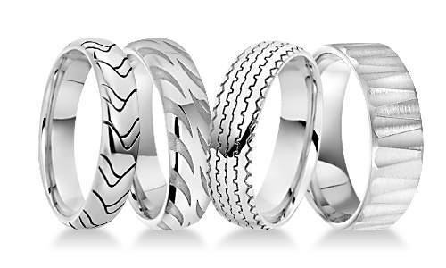 Vision Patterned Platinum Wedding Rings