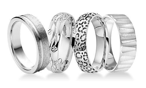 Patterned Platinum Wedding Rings