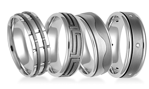 Platinum and Titanium Platinum Wedding Rings
