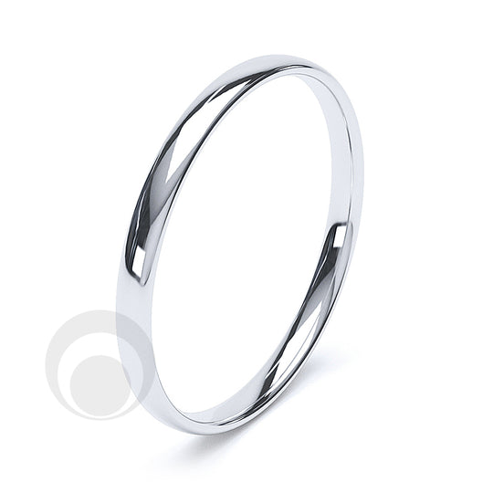 2mm Plain Platinum Court Wedding Ring