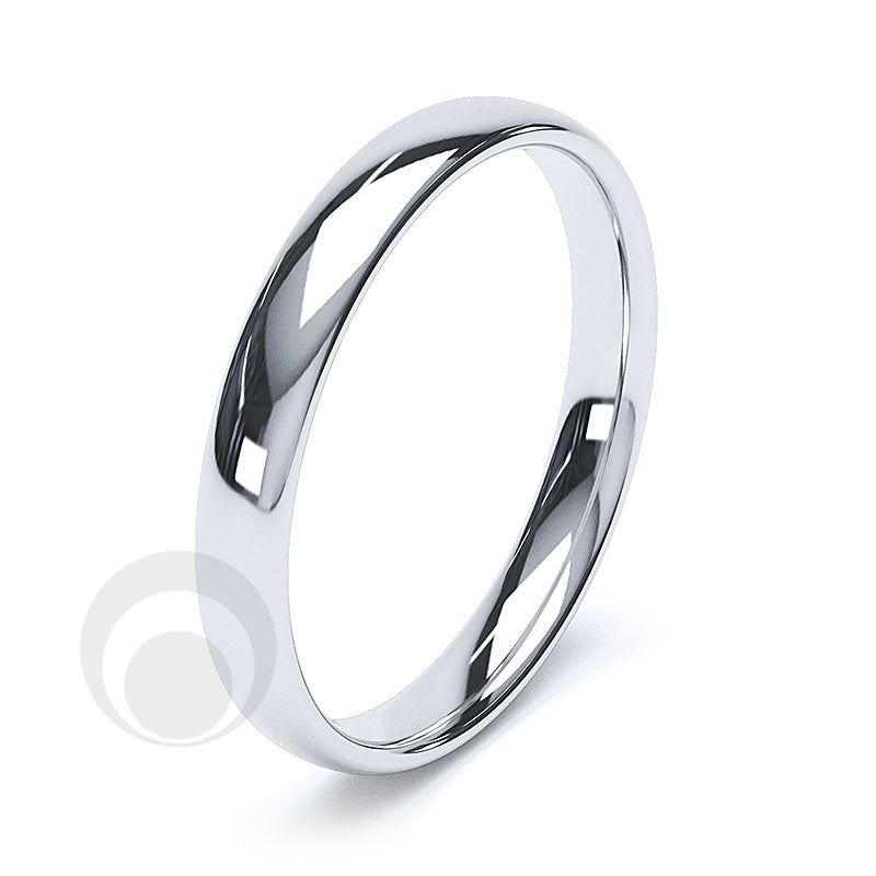3mm Plain Platinum Court Wedding Ring
