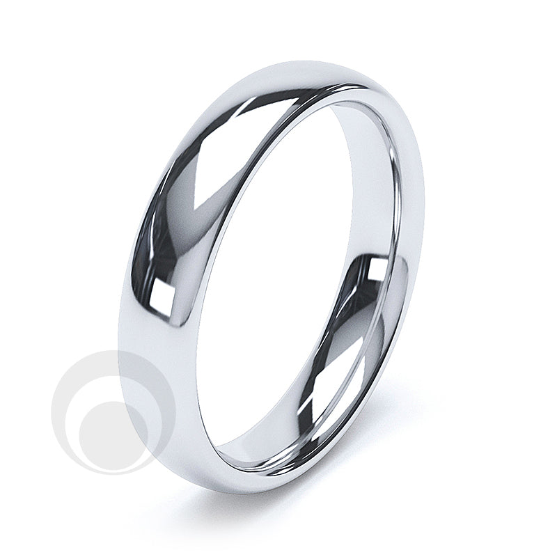 4mm Plain Platinum Court Wedding Ring