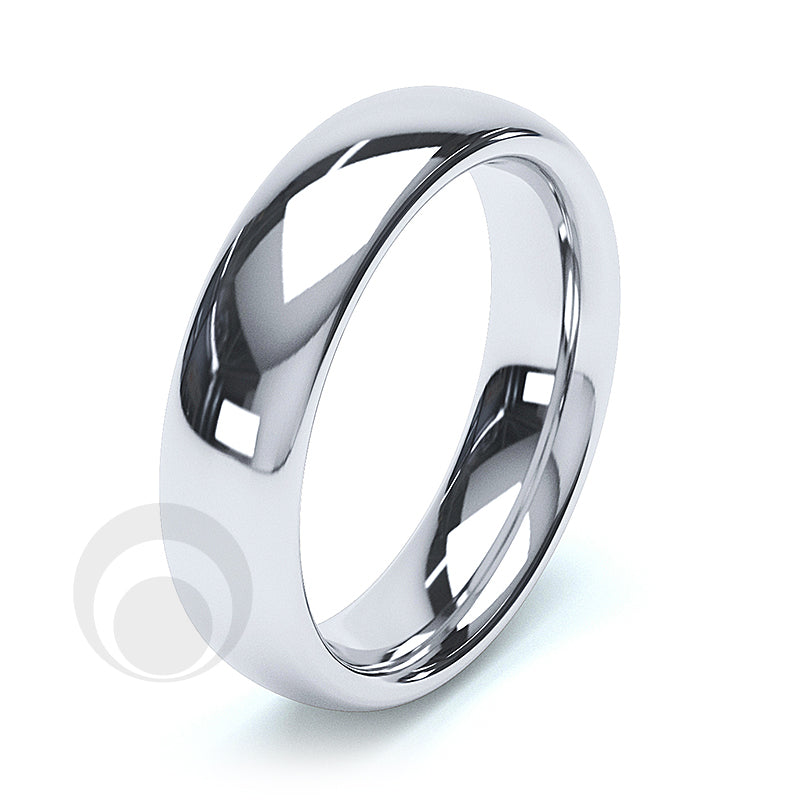 5mm Plain Platinum Court Wedding Ring