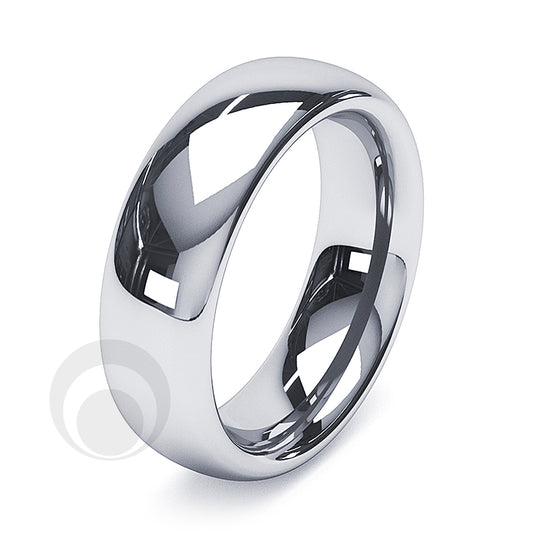 6mm Platinum Plain Court Wedding Ring