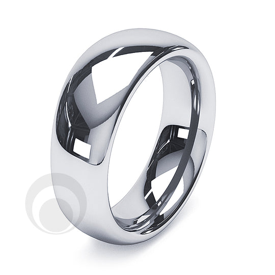 7mm Platinum Plain Court Wedding Ring
