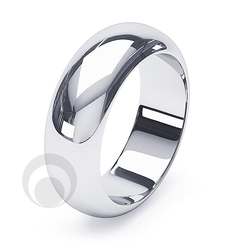 10mm Plain Platinum D-Shape Wedding Ring