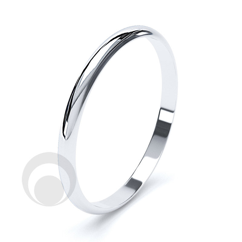 2mm Plain Platinum D-Shape Wedding Ring