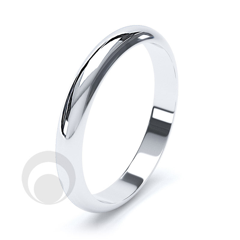 3mm Plain Platinum D-Shape Wedding Ring
