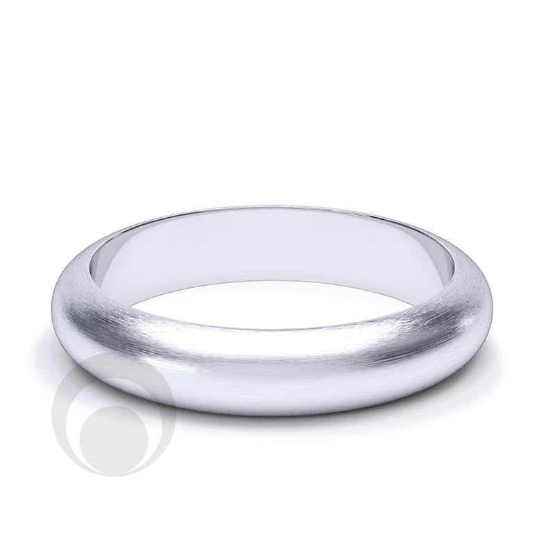 4mm Plain Platinum D-Shape Wedding Ring