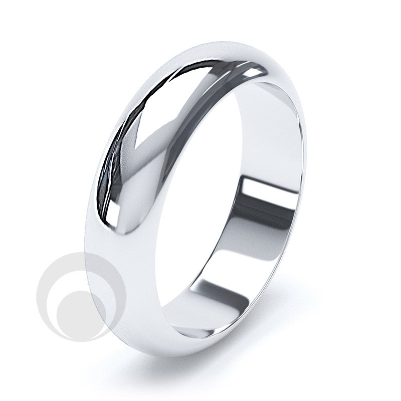 5mm Plain Platinum D-Shape Wedding Ring