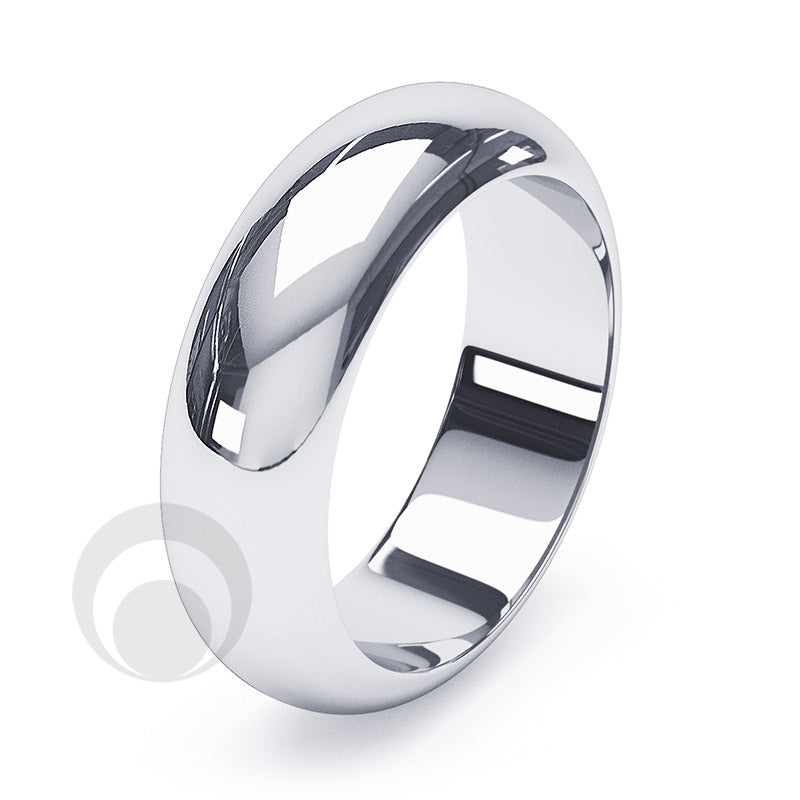 6mm Plain Platinum D-Shape Wedding Ring