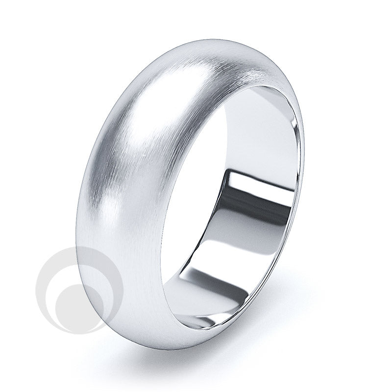 7mm Plain Platinum D-Shape Wedding Ring