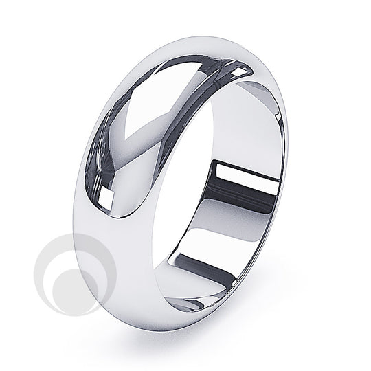 8mm Plain Platinum D-Shape Wedding Ring