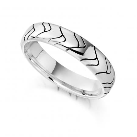 Vision Contour Platinum Patterned Wedding Ring