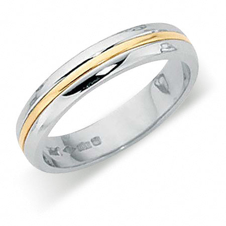Platinum Wedding Ring Two Colour PL410 - PL410-4IP