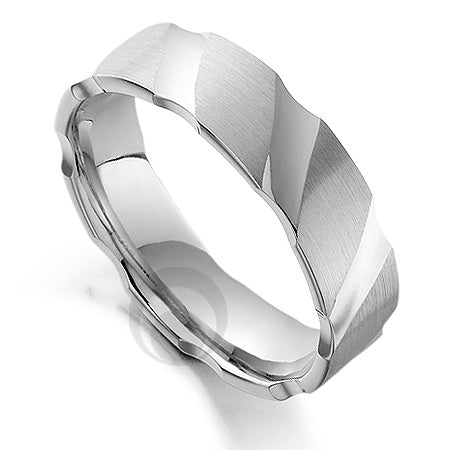Vision Shard Platinum Patterned Wedding Ring - PRC1003V-5IP