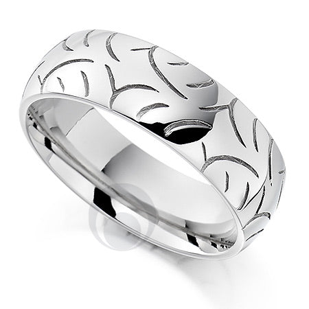 Vision Swell Platinum Patterned Wedding Ring