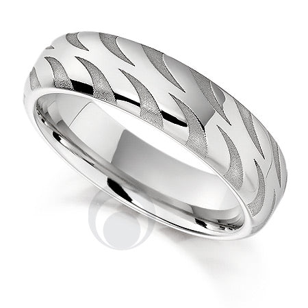 Vision Flame Platinum Patterned Wedding Ring - PRC1007V-5IP