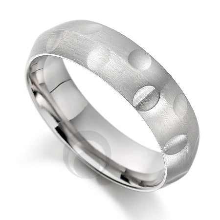 Vision Jot Platinum Patterned Wedding Ring - PRC1014V-5IP