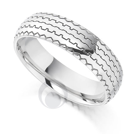 Vision Tread Platinum Patterned Wedding Ring - PRC1018V-5IP