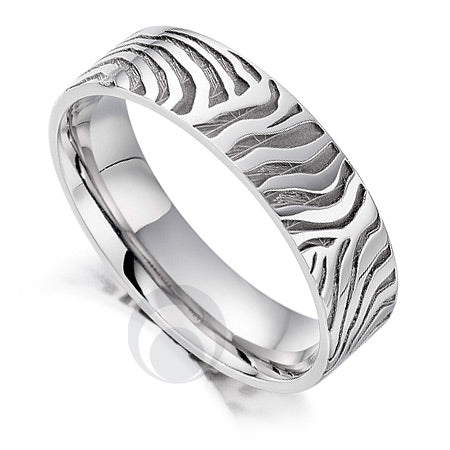Platinum Wedding Ring - Safari Zebra II - PRC1024SIP