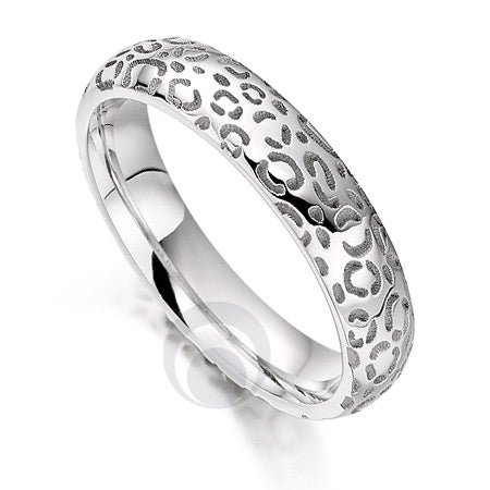 Platinum Wedding Ring - Safari Cheetah - PRC1026SIP