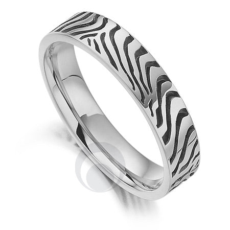 Platinum Wedding Ring - Safari Zebra - PRC1028SIP