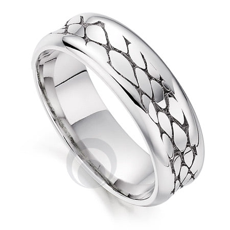 Platinum Wedding Ring - Safari Crocodile II