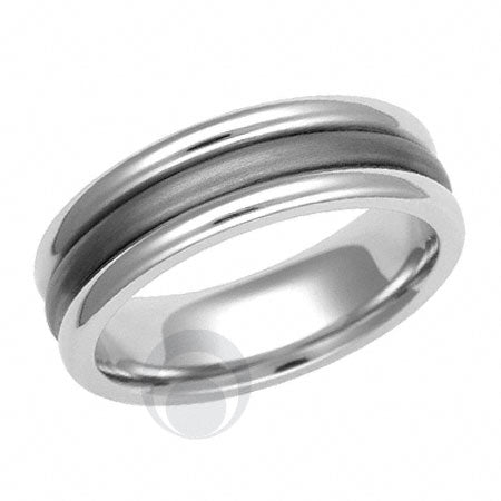 Titanium and Platinum Wedding Ring - PRC1131TIP
